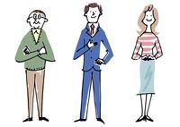 シニア男性とビジネスマンと主婦