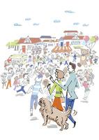 イベントに行くカップルと犬 02514000389| 写真素材・ストックフォト・画像・イラスト素材|アマナイメージズ