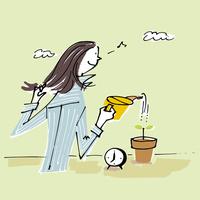 鉢植えに水をあげる女性 02514000402  写真素材・ストックフォト・画像・イラスト素材 アマナイメージズ