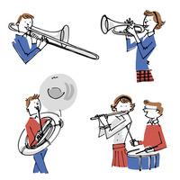 吹奏楽を演奏する男女