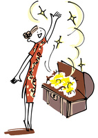 チャイナドレスの女性と宝箱