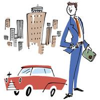 スーツの男性と車と街並み 02514000414| 写真素材・ストックフォト・画像・イラスト素材|アマナイメージズ