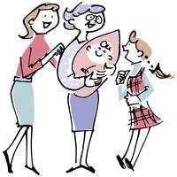 赤ちゃんを抱くシニア女性と母娘