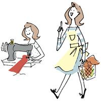 ミシンを使う女性と買い物に行く女性