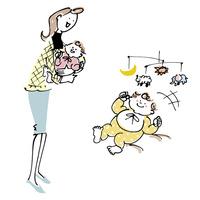 赤ちゃんを抱く女性とモビールを見て喜ぶ赤ちゃん