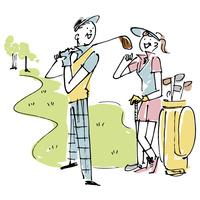 ゴルフを楽しむシニアカップル