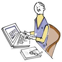 パソコンを使うシニア男性 02514000440| 写真素材・ストックフォト・画像・イラスト素材|アマナイメージズ