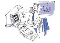 オフィスで夜に仕事をするビジネスマン 02514000441| 写真素材・ストックフォト・画像・イラスト素材|アマナイメージズ