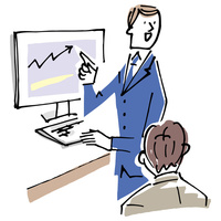 モニターで説明するビジネスマン 02514000442| 写真素材・ストックフォト・画像・イラスト素材|アマナイメージズ