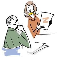 女性担当者の説明を受ける男性 02514000443| 写真素材・ストックフォト・画像・イラスト素材|アマナイメージズ
