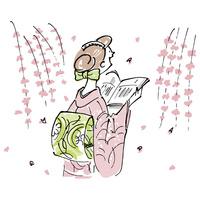 しだれ桜と着物を着た女性
