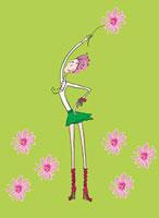 花を持つ女性 春のイメージ 02515000006| 写真素材・ストックフォト・画像・イラスト素材|アマナイメージズ
