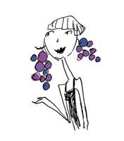 女性とブドウ