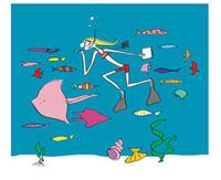 魚と一緒に海中でスケッチをする女性 02515000016| 写真素材・ストックフォト・画像・イラスト素材|アマナイメージズ