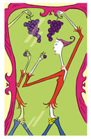 鏡とブドウを食べる女性 02515000025| 写真素材・ストックフォト・画像・イラスト素材|アマナイメージズ