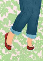 ジーンズと赤い靴