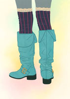 ニーハイソックスとブーツ