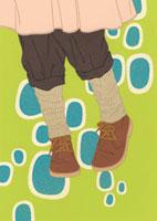 パンツと茶色の靴