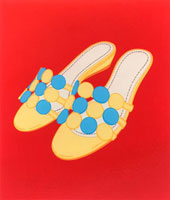 イエローとブルードットのサンダル 02518000016| 写真素材・ストックフォト・画像・イラスト素材|アマナイメージズ