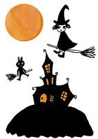 ハロウィンで丘の上の家を楽しく飛んでいるほうきに乗った魔女のような女の子と猫