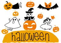 ハロウィンの仮装をするプリンセスの女の子とオバケの子と魔法使いの男の子とかぼちゃの子とこうもりの子