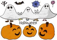 ハロウィンの三個のかぼちゃが微笑んでいる後ろでオバケの仮装をしたパパとママとこどもと猫と犬 背景には木とこうもりとクモの巣とぺろぺろキャンディー