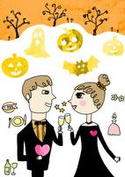 ハロウィンで正装のカップルが見つめ合い乾杯をしている かぼちゃ、おばけ、こうもり,木が背景にある