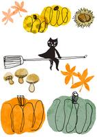 和風素材のハロウィンでほうきに乗って飛んでいる猫 背景に秋の味覚のかぼちゃと栗とキノコとモミジの葉がある