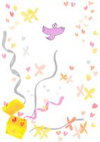 鳥やリボンやハートが飛び出す幸せのおもちゃ箱のイメージ