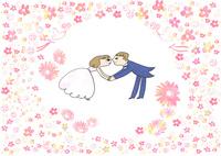 タキシードとドレスのカップルが手をつなぐ,周りには花とリボンをくわえた鳥