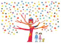 星の咲く木には赤い家,その脇に笑顔の男女と一匹の犬がいる