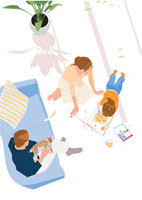 日当たりに寝そべって絵を描く女の子と見守る両親