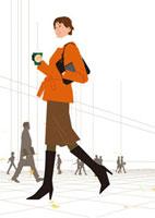 冬の朝暖かいコーヒーを持って出勤途中の女性