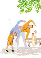 公園の木陰で体操する三世代のファミリー