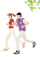 ミドリの風の中をジョギングするカップル