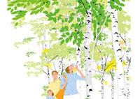 避暑地の白樺の林の中のファミリー