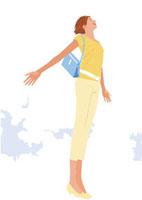 爽やかな空に胸を張るビジネス女性