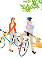 深緑の郊外をサイクリングするカップルと犬