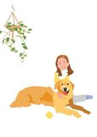 日の当たるジュウタンに座る少女と犬