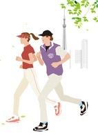 風の中をジョギングするカップルとスカイツリー