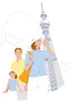 風を受ける親子とスカイツリー