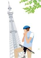 サイクリングする男性とスカイツリー 02526000048| 写真素材・ストックフォト・画像・イラスト素材|アマナイメージズ
