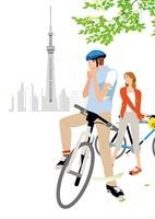 サイクリングするカップルとスカイツリー 02526000049| 写真素材・ストックフォト・画像・イラスト素材|アマナイメージズ