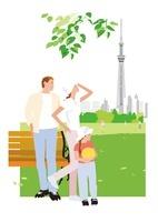 公園のベンチの前でたたずむファミリーとスカイツリー 02526000053| 写真素材・ストックフォト・画像・イラスト素材|アマナイメージズ
