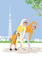 公園の木陰で体操するファミリーとスカイツリー 02526000065| 写真素材・ストックフォト・画像・イラスト素材|アマナイメージズ