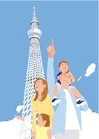 家族ファミリー4人と青い空のスカイツリー