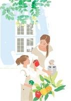 庭で家庭菜園をする母と少女