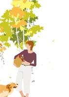 秋の郊外、女性と犬 02526000129| 写真素材・ストックフォト・画像・イラスト素材|アマナイメージズ