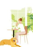 みどりの窓辺のリビングでお茶を飲む女性