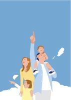 家族ファミリー4人と青い空